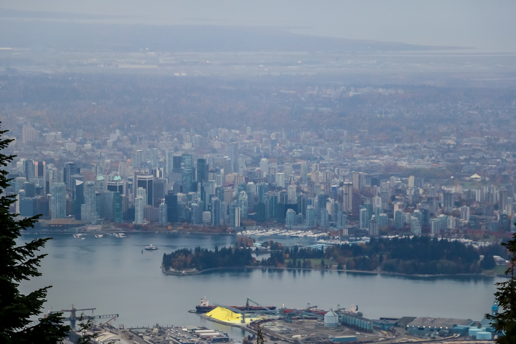 View over Downtown Vancouver and Stanley Park from Grouse Maintain