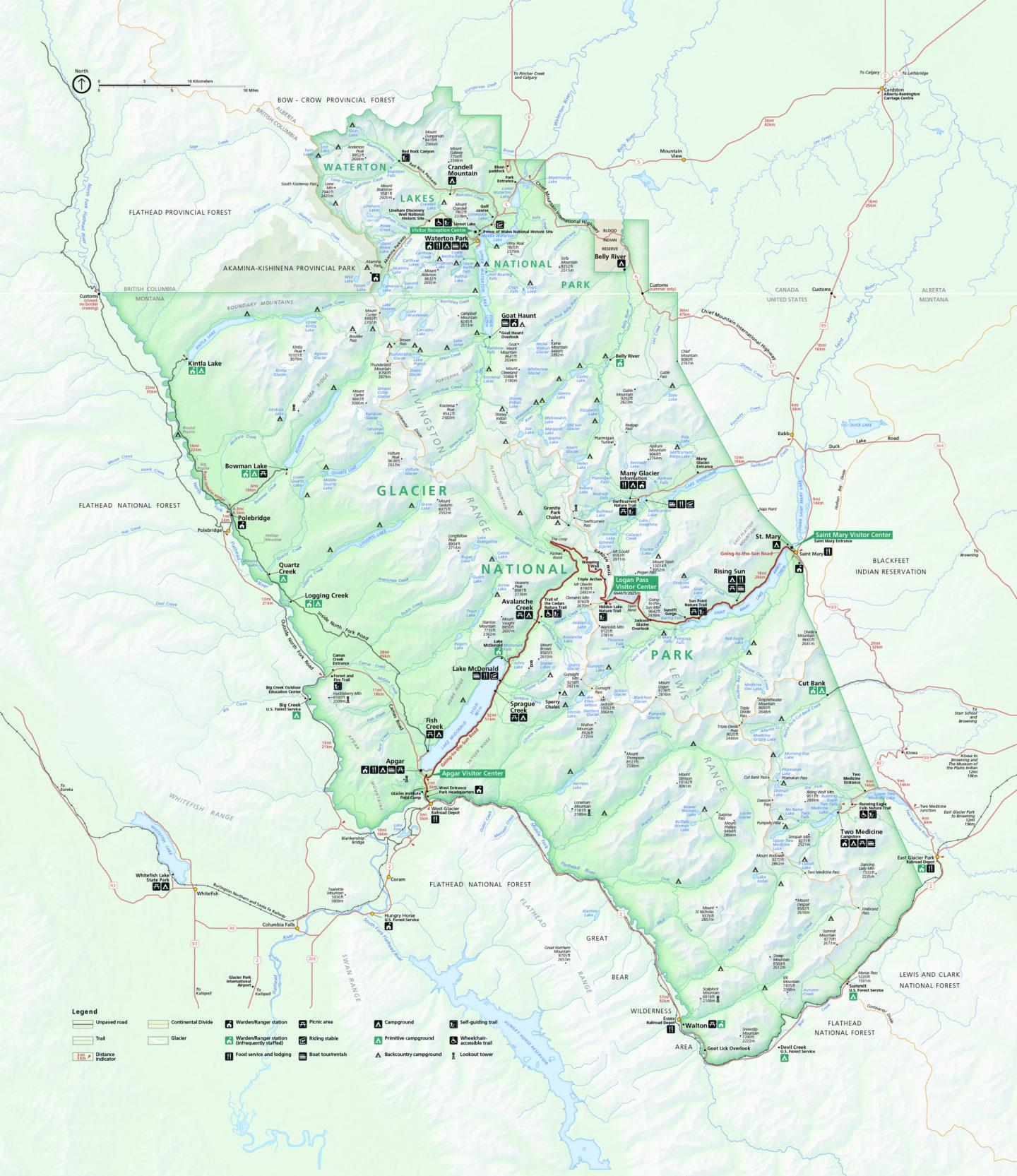 Visit Glacier National Park - Map - Roads and Destinations